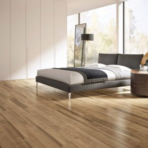 Bedroom with ceramic timber floor tiles